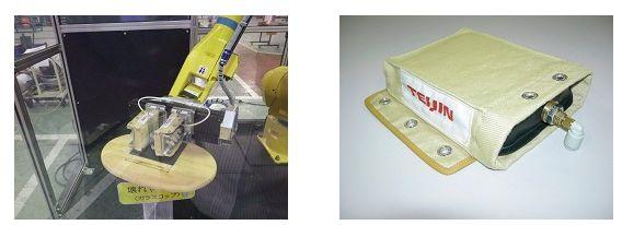 帝人エンジニアリング「てるぷよハンド」を装着したロボットと二重構造の袋