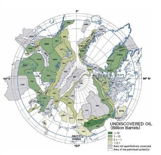 北極圏における未発見石油資源量図