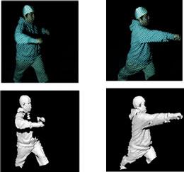 波線格子パターンの投影による動作の計測(上段:入力画像/下段:形状計測結果)