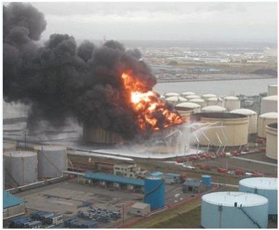 屋外タンク全面火災の状況