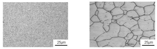 開発材の結晶粒(左)と従来材(一般的なSUS304)の結晶粒(右)