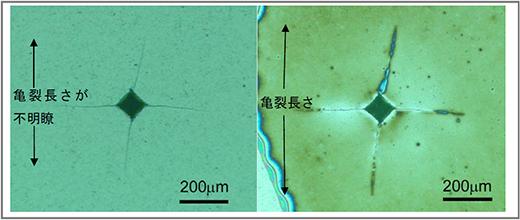 セラミックス表面の圧痕(くぼみ)の金属顕微鏡写真