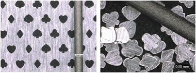 開孔例: 平面状物質サイズ 約500μm、厚み15μm(材質:アルミ)(棒状のものはシャープペンシル0.5㎜芯)