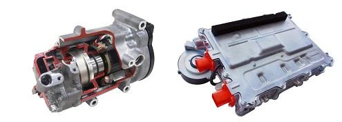 豊田自動織機「左:コンプレッサ、右:充電器」